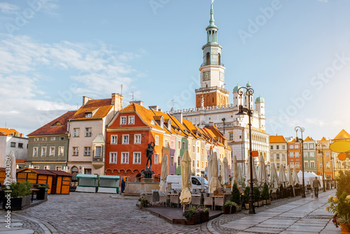 View on the Market square with beautiful old buildings and town hall during the morning light in Poznan, Krakow