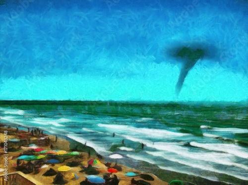 tornado in the sea sandy beach the oncoming storm hurricane oil