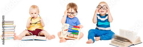 Fotomural Baby Reading Book, Kids Early Education, Smart Children group in Glasses, white