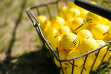 Yellow Golf Balls In A Basket ...
