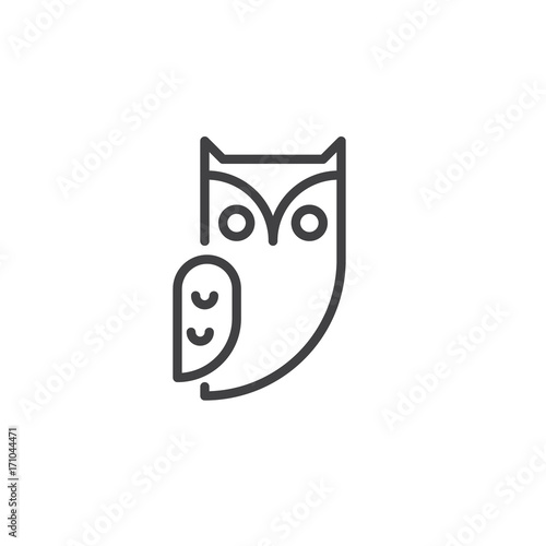 Photo Stands Owls cartoon Owl bird line icon, outline vector sign, linear style pictogram isolated on white. Halloween holiday Symbol, logo illustration. Editable stroke