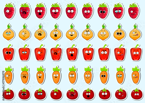 Cartoon vegetables cute character face isolated vector