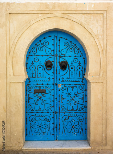 Poster Tunesië Blue aged door with ornament from Sidi Bou Said