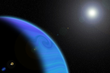 Close up colorful (blue) gaseous planet and sun