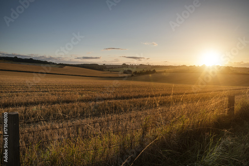 Freshly harvested fields of barley in countryside landscape bathed in sunset light