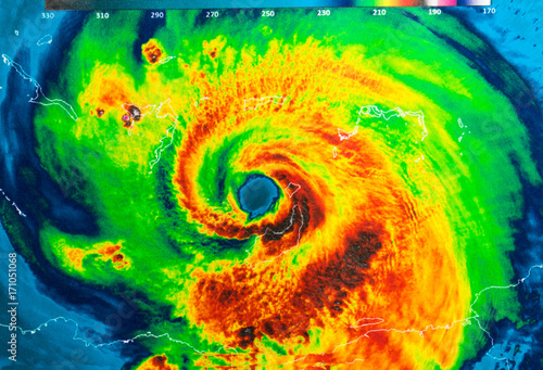 Geocolor Image in the eye of Hurricane Irma Canvas Print