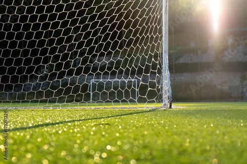 Vászonkép Football ground, evening sun backlit, goalpost and net in foreground