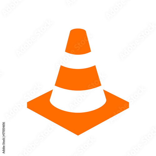 Obraz na plátně  Orange safety cone vector icon