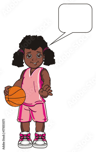 Basketball Game Sports Ball Orange Girl Sports Uniform Basket Stand Cartoon Illustration Afro Clean Sign Callout Buy This Stock Illustration And Explore Similar Illustrations At Adobe Stock Adobe Stock