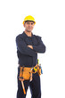 Happy beard worker smiling, guy wearing dark blue workwear and belt equipment with yellow helmet, isolated on white background