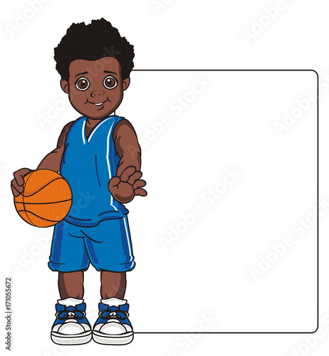 Basketball Game Sports Ball Orange Boy Sports Uniform Basket Stand Cartoon Illustration Afro Clean Paper Buy This Stock Illustration And Explore Similar Illustrations At Adobe Stock Adobe Stock