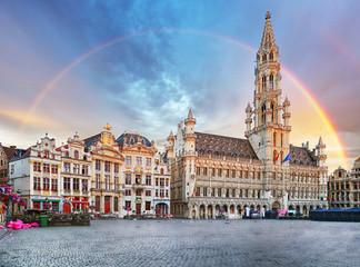 Fototapeta Brussels, rainbow over Grand Place, Belgium, nobody
