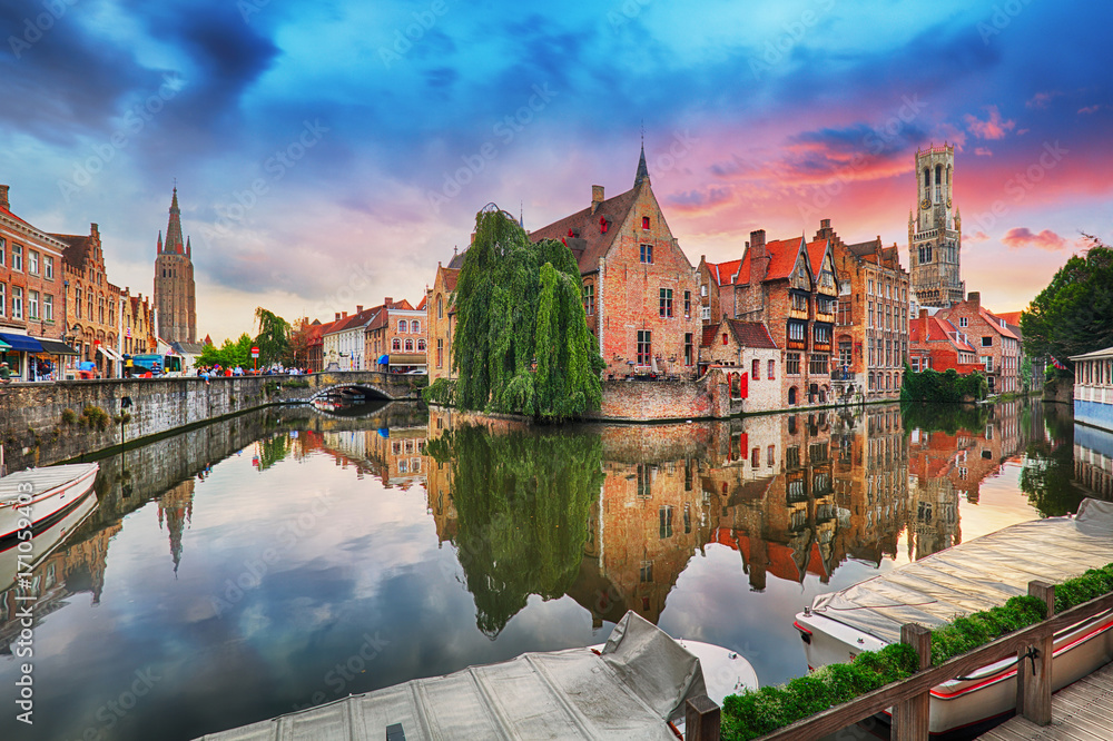 Fototapeta Bruges at dramatic sunset, Belgium