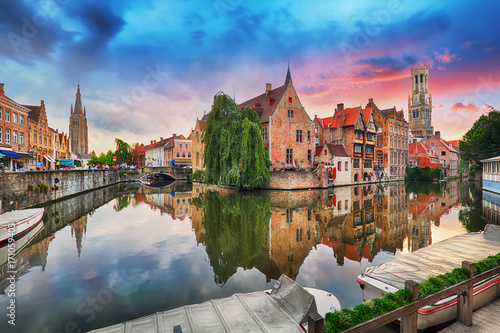 Wall Murals Bridges Bruges at dramatic sunset, Belgium
