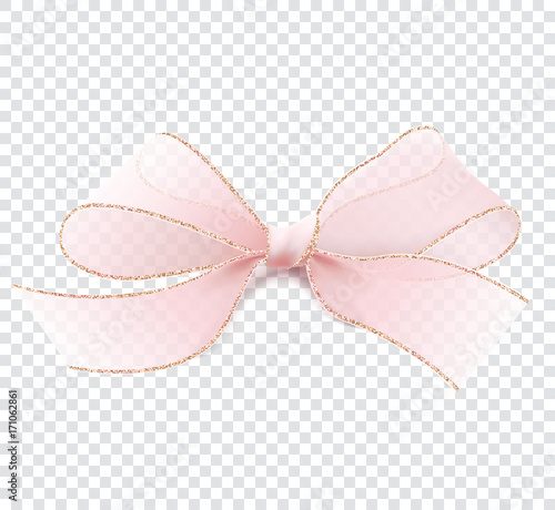 Realistic Illustration In Vector 3D Pink Transparent Bow With Gold Border Isolated On A