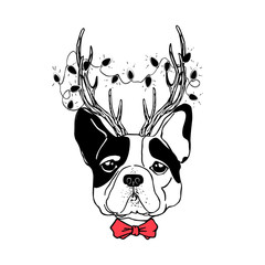 Panel Szklany Boże Narodzenie/Nowy Rok Vector drawn funny poster. Trendy french bulldog in a deer suit with horns, garland with light bulbs and bow tie. Dog is symbol of Chinese New Year. Hand drawn holiday image.