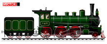 An Old Locomotive Of Green Col...