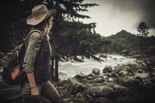 Beautiful Woman Hiker Near Wil...
