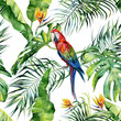 canvas print picture - Seamless watercolor illustration of tropical leaves, dense jungle. Scarlet macaw parrot. Strelitzia reginae flower. Hand painted. Pattern with tropic summertime motif. Coconut palm leaves.