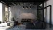 Leinwanddruck Bild - Living room with sofas in loft style flat