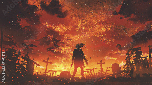 zombie walking in the burnt cemetery with burning sky, digital art style, illust Fototapet