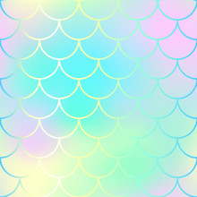 Fish Scale Pattern Background. Gradient Mesh Vector Texture. Candy Color Mermaid Seamless Pattern.