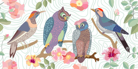 Wide panoramic vector patterns with owls, woodpeckers, roses and branches.