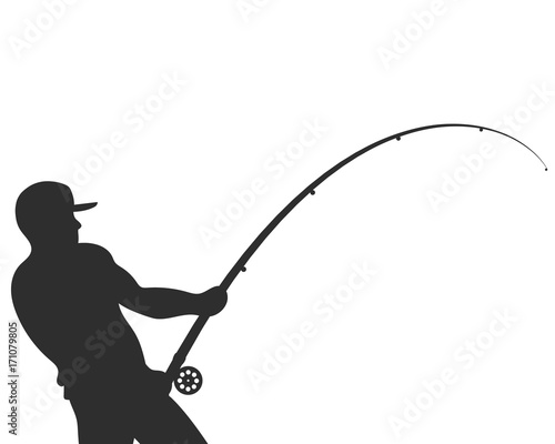 Obraz Silhouette of a fisherman with a fishing rod vector - fototapety do salonu