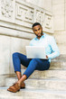 Young African American Man with beard studying in New York