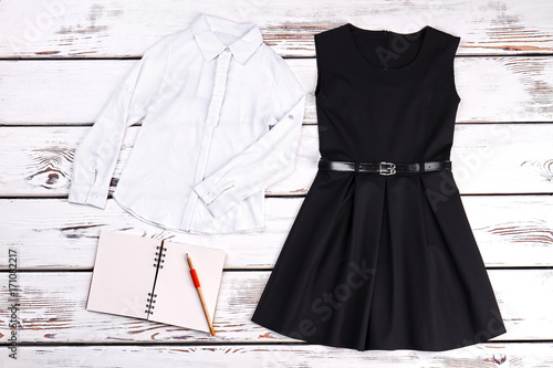 Girls School Clothes And Accessories White Girls Shirt Black Dress