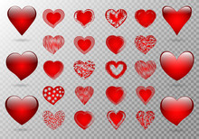 A Large Set Of Delicate And Voluminous Hearts For A Romantic Decoration On A Transparent Background