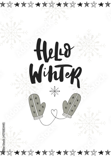 Photo sur Toile Noël Hello winter. Cute hand drawn Christmas postcard with lettering and doodle ellements. New Year phrase and quote.