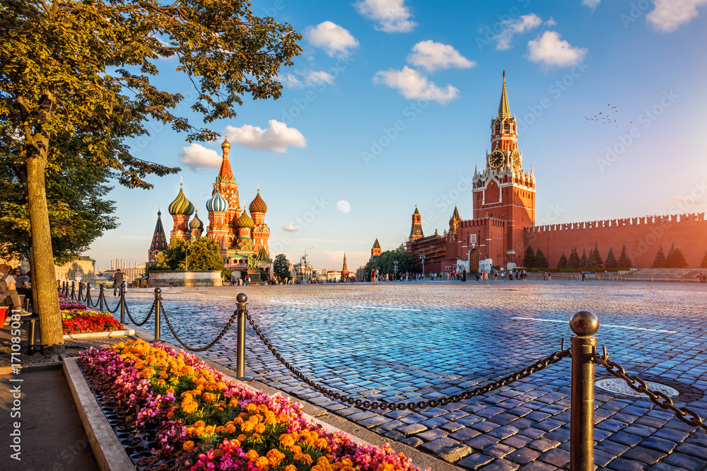 Fototapety, obrazy: st. basil's cathedral and spassky tower on Red Square
