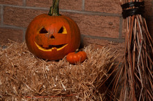 Halloween Jack-o-lantern. Pumpkin On Straw