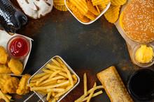 Junk Food On Table. Fast Carbs...