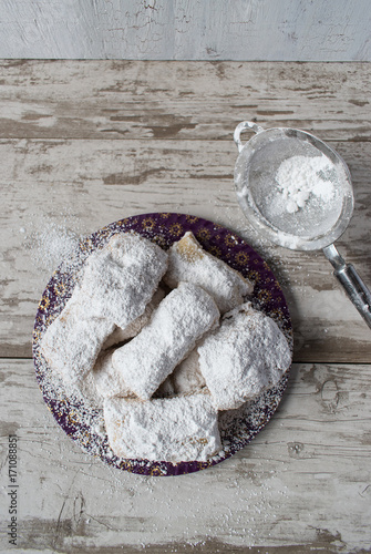 Homemade beignets with powdered sugar top view Canvas Print