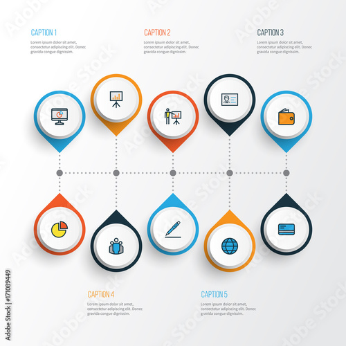 Job Colorful Outline Icons Set  Collection Of Pie Chart
