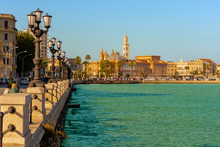 Panoramic View Of Bari Seafront In The Background Basilica San Nicola. Apulia.