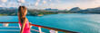 canvas print picture - Cruise ship tourist woman Caribbean travel vacation banner. Panoramic crop of girl enjoying sunset view from boat deck leaving port of Basseterre, St. Lucia, tropical island.