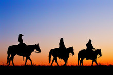 Silhouette Of Cowboys And Cowg...