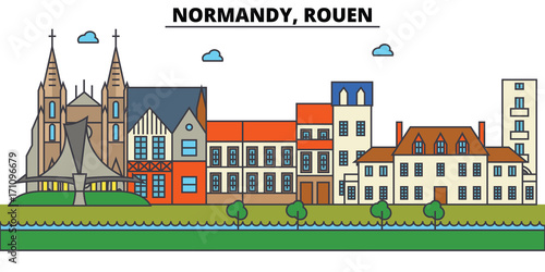 Poster de jardin Route France, Rouen, Normandy. City skyline: architecture, buildings, streets, silhouette, landscape, panorama, landmarks. Editable strokes. Flat design line vector illustration concept. Isolated icons