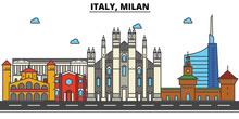 Italy, Milan. City Skyline: Architecture, Buildings, Streets, Silhouette, Landscape, Panorama, Landmarks. Editable Strokes. Flat Design Line Vector Illustration Concept. Isolated Icons