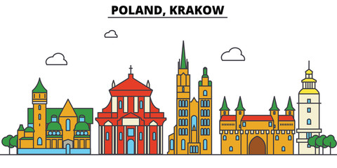 FototapetaPoland, Krakow. City skyline: architecture, buildings, streets, silhouette, landscape, panorama, landmarks. Editable strokes. Flat design line vector illustration concept. Isolated icons