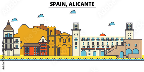 Spain, Alicante. City skyline: architecture, buildings, streets, silhouette, landscape, panorama, landmarks. Editable strokes. Flat design line vector illustration concept. Isolated icons