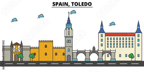Spain, Toledo. City skyline: architecture, buildings, streets, silhouette, landscape, panorama, landmarks. Editable strokes. Flat design line vector illustration concept. Isolated icons