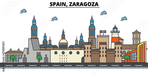 Spain, Zaragoza. City skyline: architecture, buildings, streets, silhouette, landscape, panorama, landmarks. Editable strokes. Flat design line vector illustration concept. Isolated icons