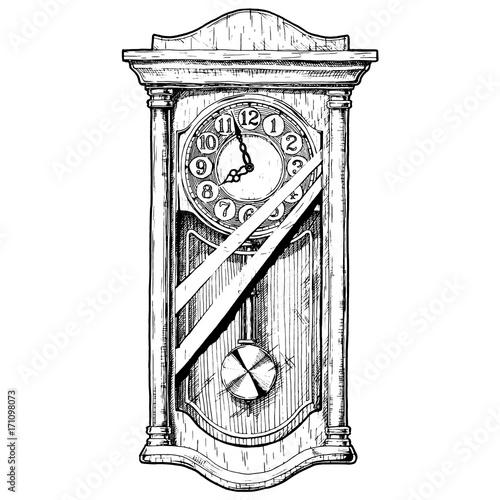 Illustration of old pendulum clock - Buy this stock vector