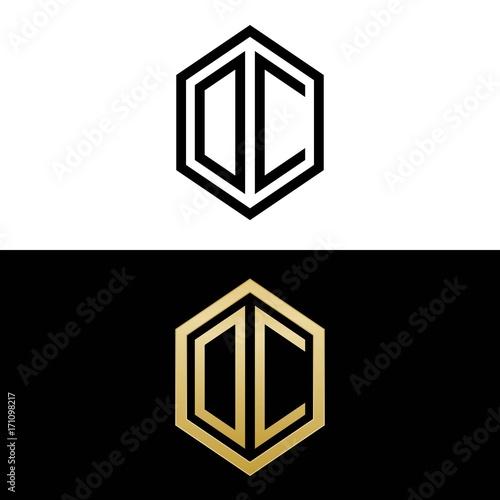 Initial Letters Logo Oc Black And Gold Monogram Hexagon Shape Vector