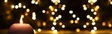 Candle With Bright, Glowing Lights, Christmas Background