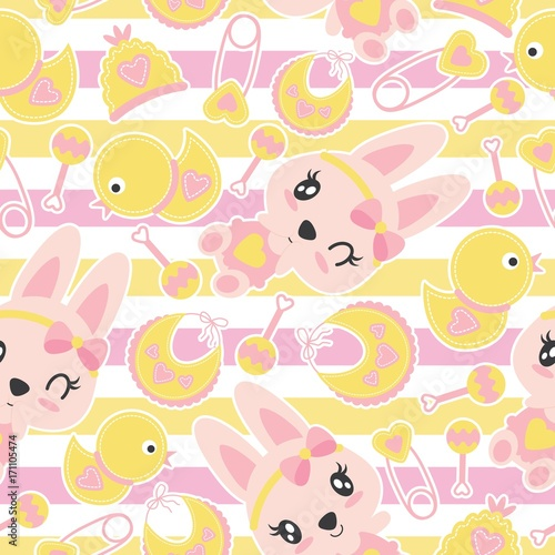 Seamless Pattern Of Cute Bunny Girls And Baby Shower Items On